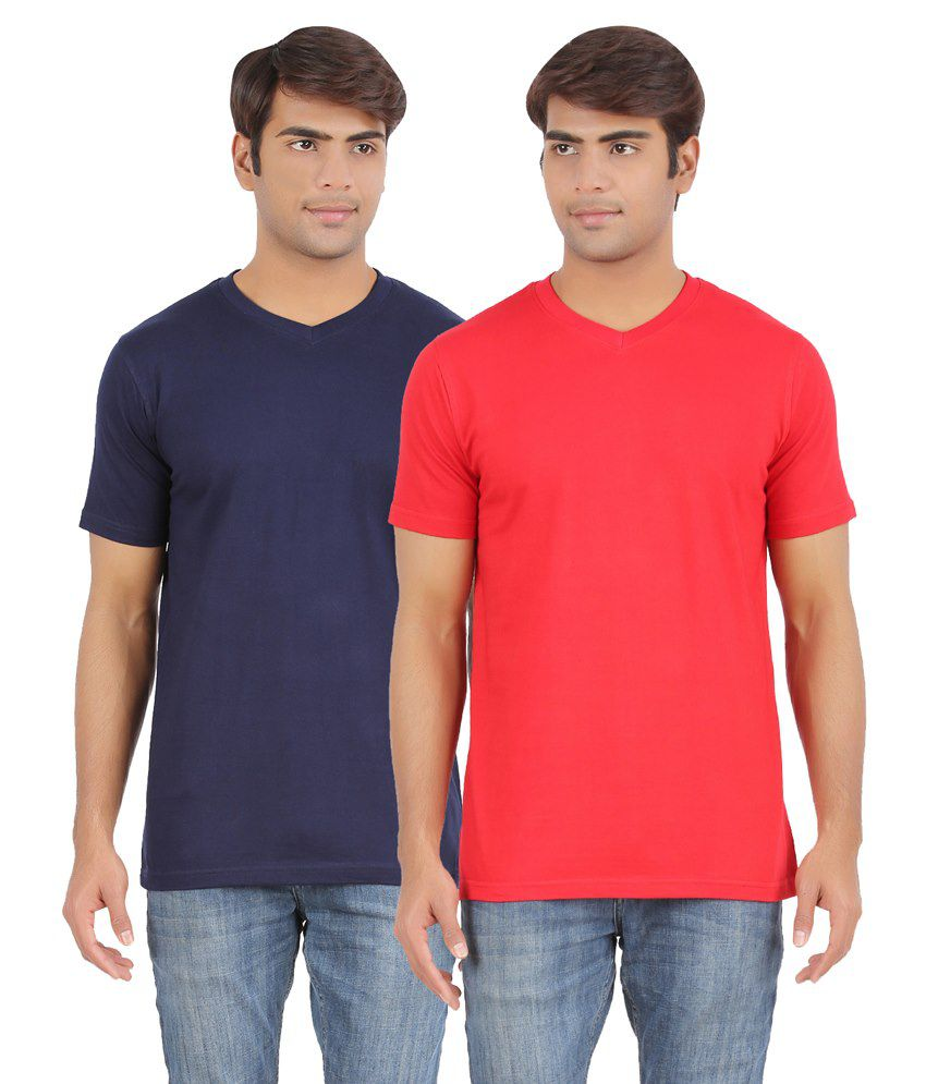 AP'Pulse Blue & Red Cotton T Shirt Pack Of 2