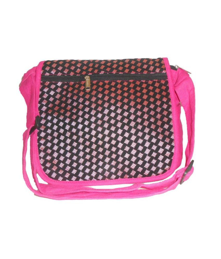 Clicktin Pink Canvas Cloth Sling Bag