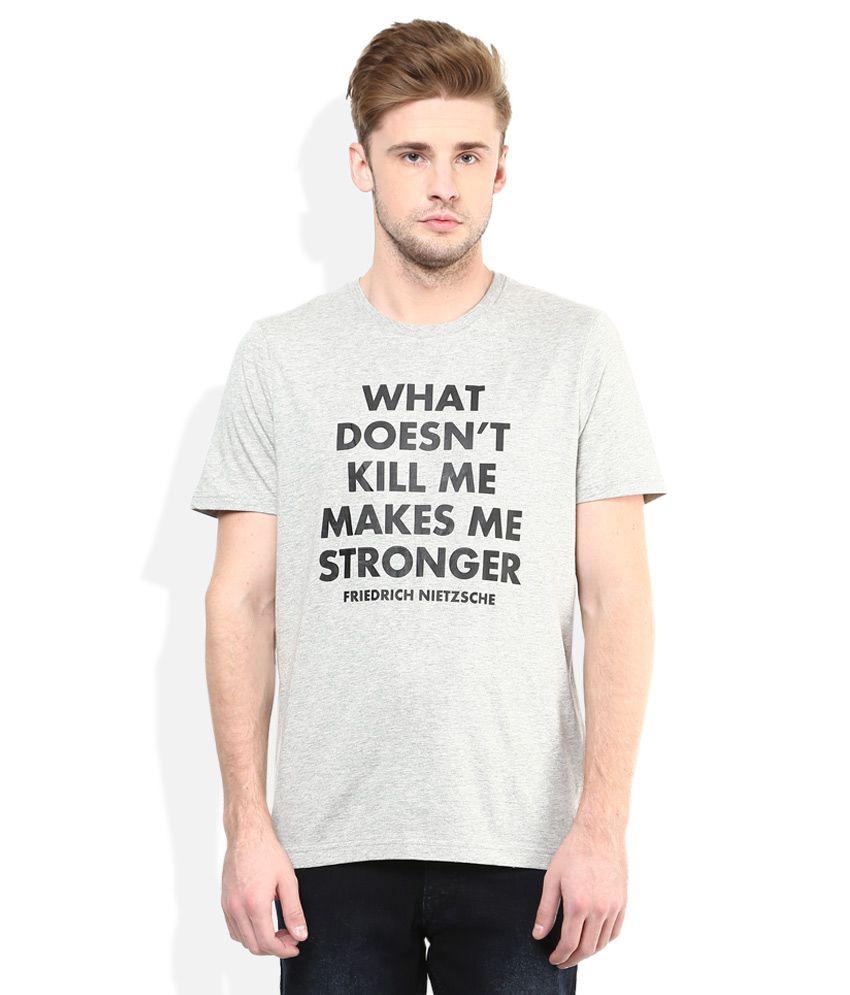 Giordano Grey Printed Round Neck T Shirt