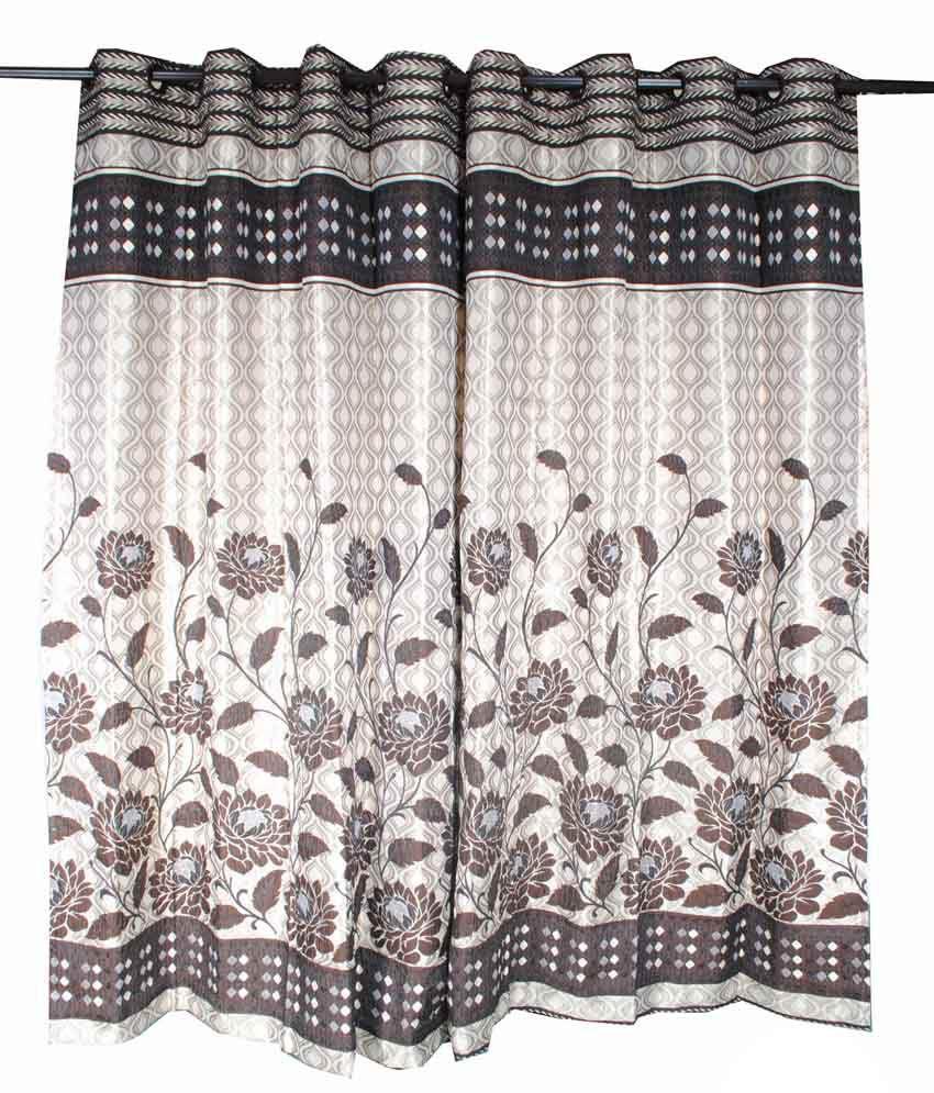 Krishna Curtains Single Door Eyelet Curtain Floral White Buy Krishna Curtains Single Door
