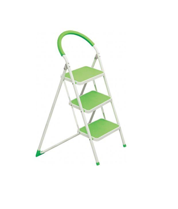 Ozone White Green 3 Step Kitchen Ladder