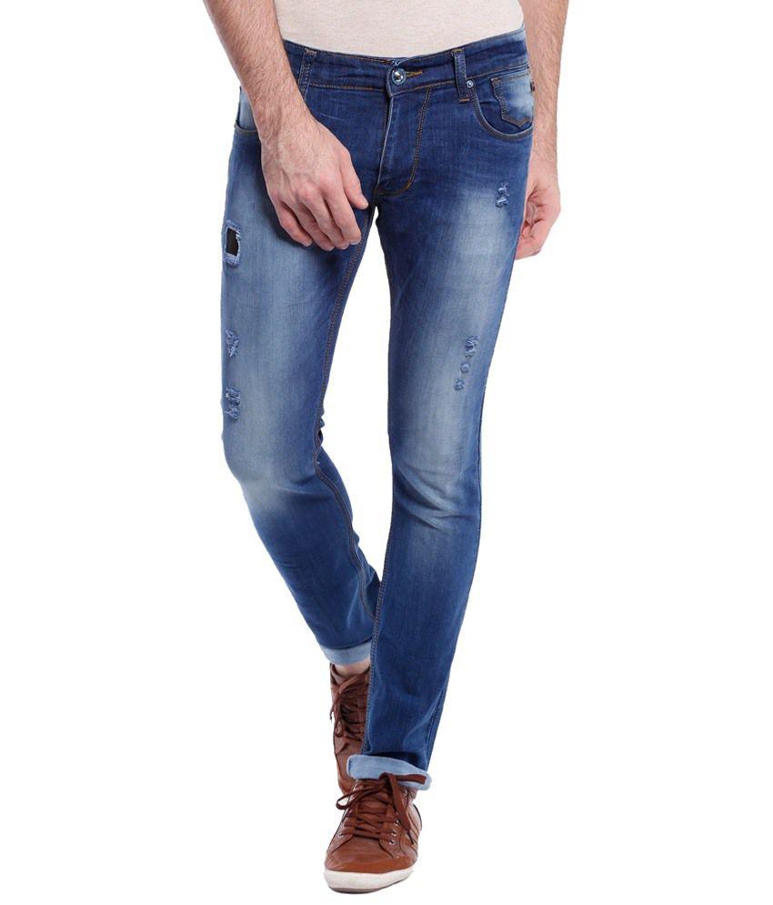 Vintage Classic Blue Slim Fit Jeans for Men