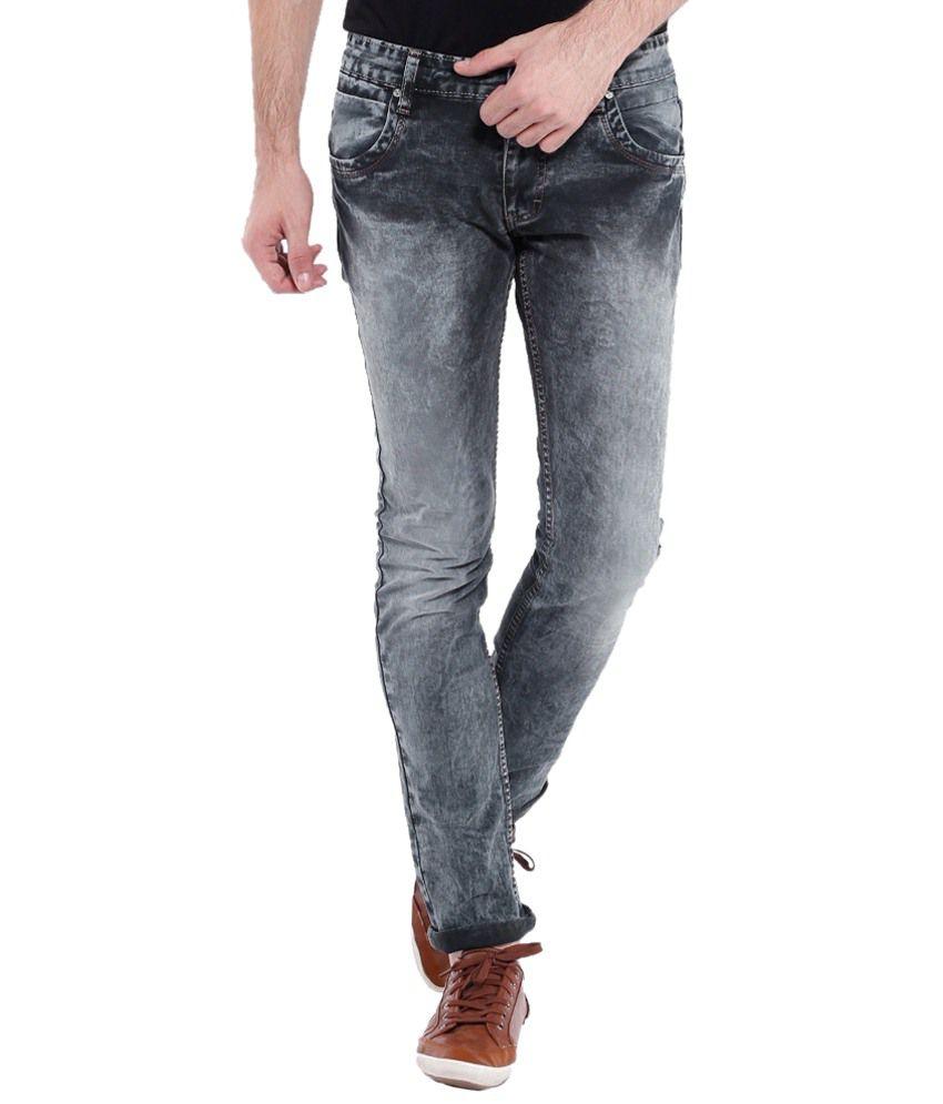 Vintage Gray Slim Fit Jeans for Men