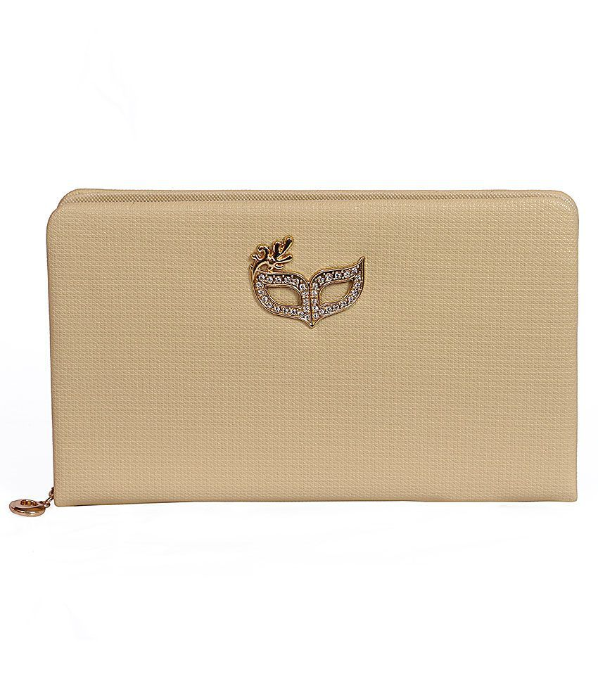 Bags4babes Beige Clasp Closure Clutch