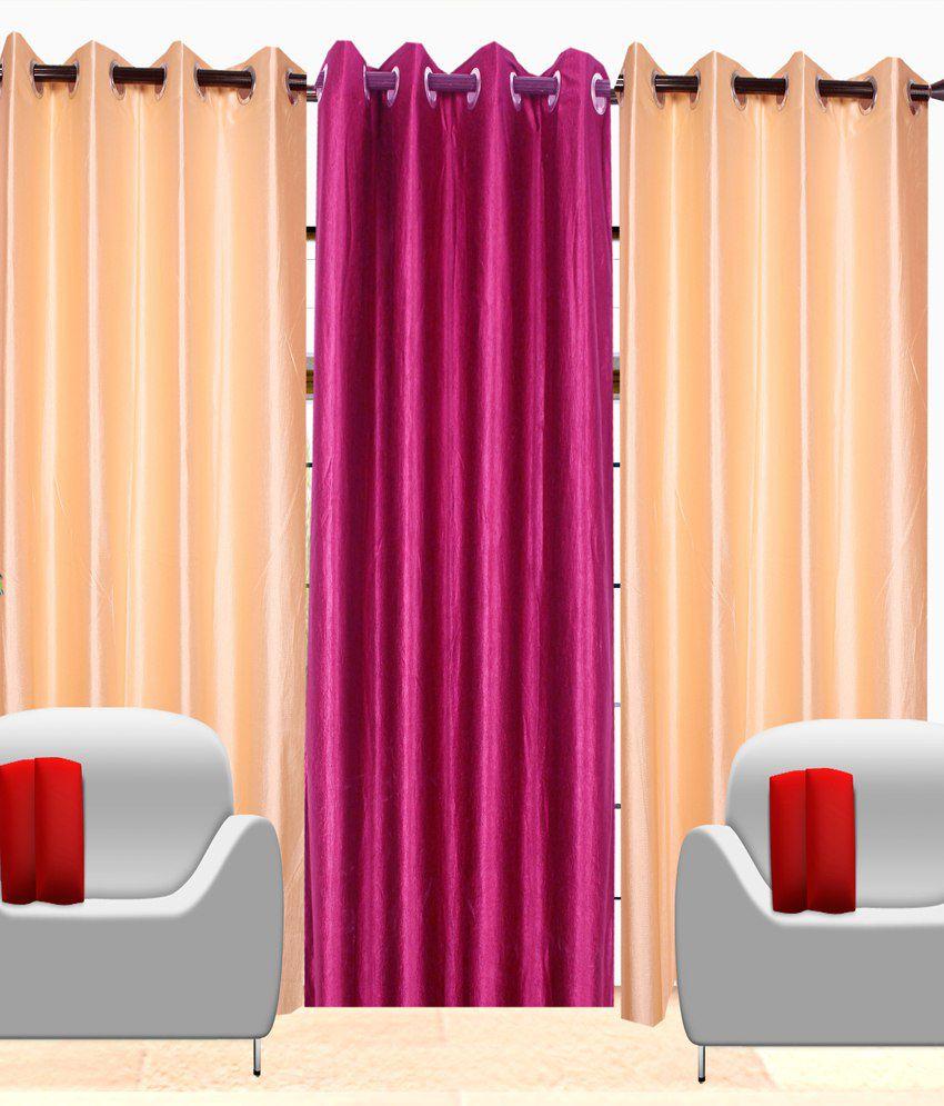 Fresh From Loom Set of 3 Door Eyelet Curtains Solid Beige&Pink