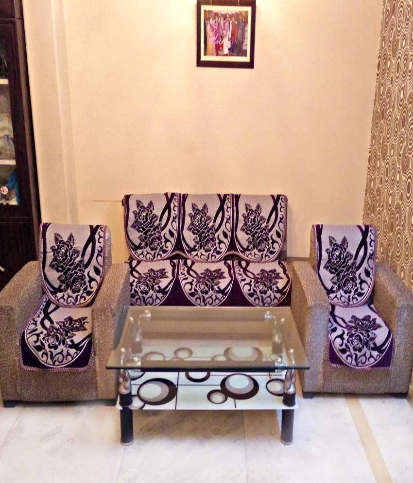 Sofa Set Cover Price In India: SHC Chenille Purple Reversible Sofa Cover Set Best Price