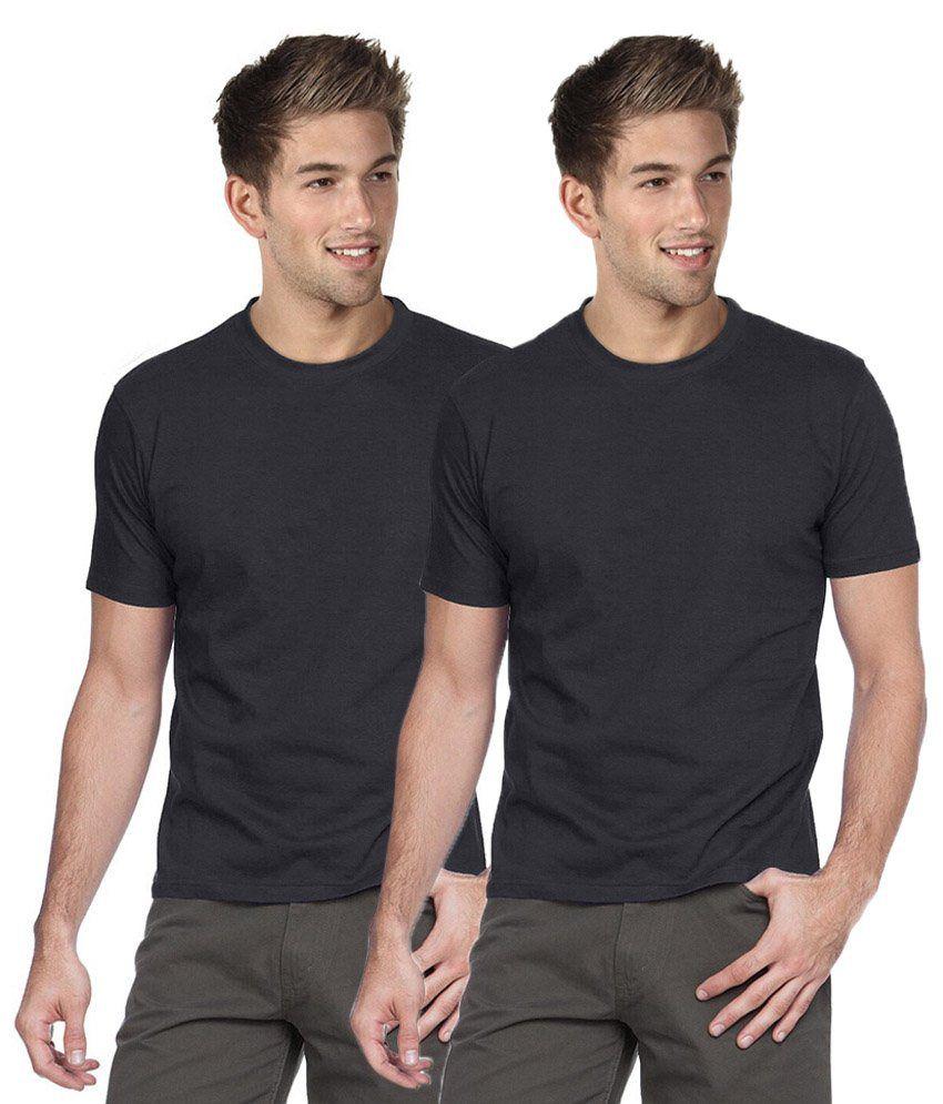 Sree Sai Vara Fashions Black Cotton Basic T Shirt Pack Of 2