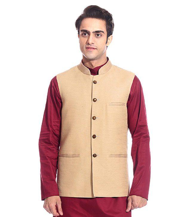 Tag 7 Beige Semi-Formal Nehru Jacket