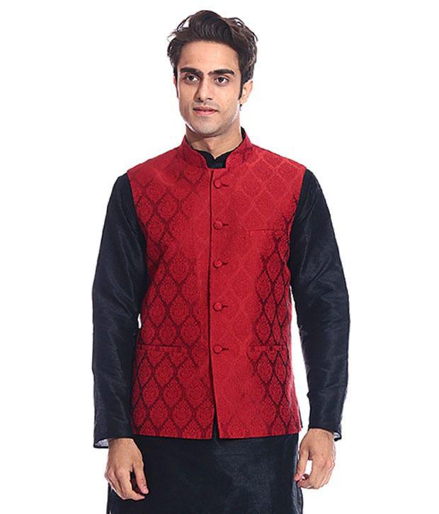 Tag 7 Red Semi-Formal Nehru Jacket