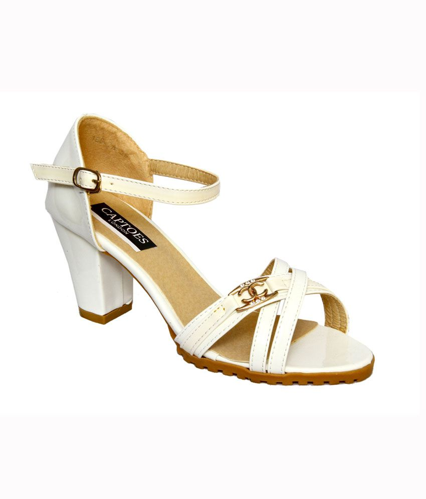 Captoes London White Heeled Sandals