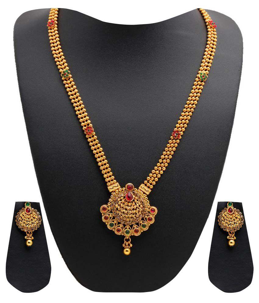 Party Queen Long Haaram Gold Necklace Set