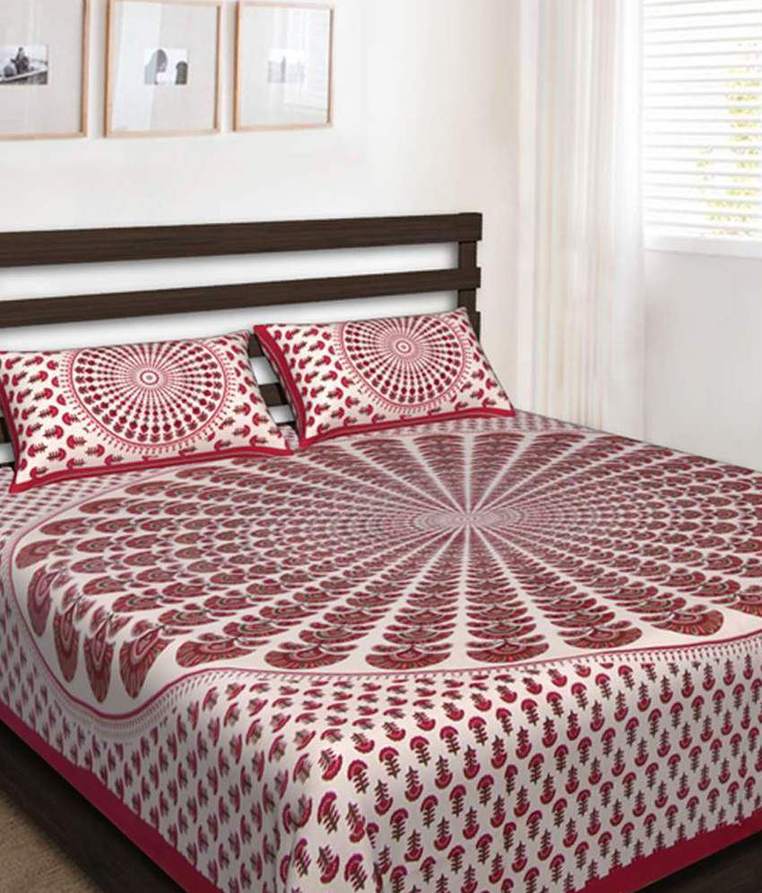 f0b57246cf1 UniqChoice 100% Cotton Rajasthani Traditional Printed King Size Double  Bedsheet With 2 Pillow Cover - Buy UniqChoice 100% Cotton Rajasthani  Traditional ...