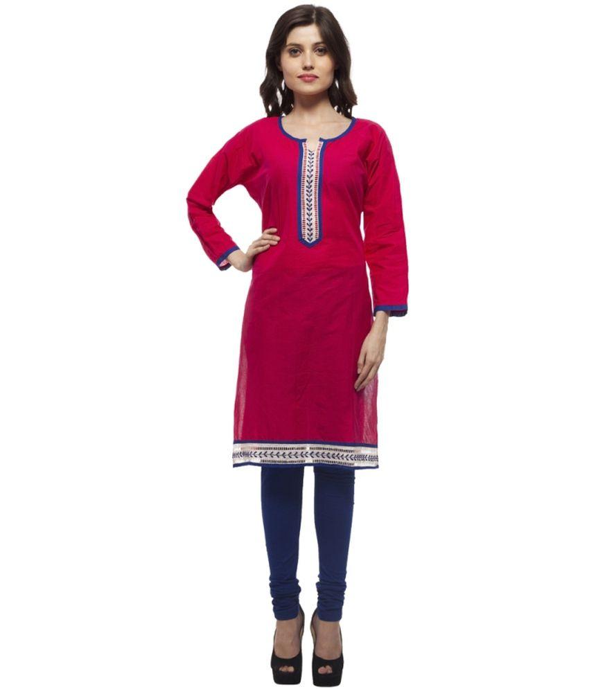 Elearray Wear Pink Poly Rayon Kurti