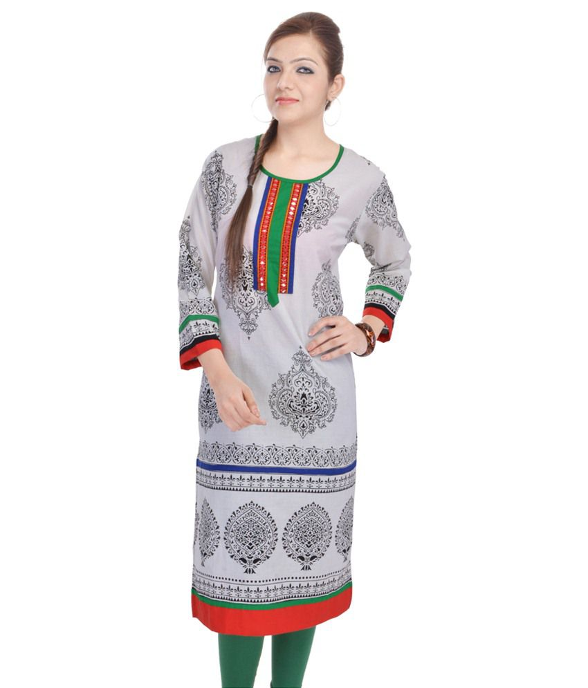 Fab Rajasthan Unique Arts Gray Cotton Kurti