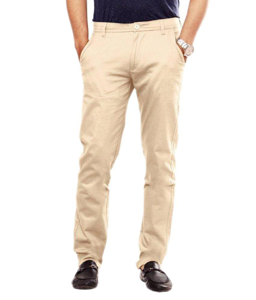 Uber Urban Beige Cotton Lycra Chinos Trouser