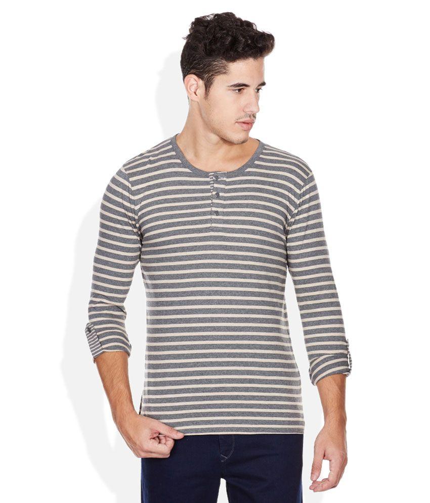 Bossini Grey Striped Henley T Shirt