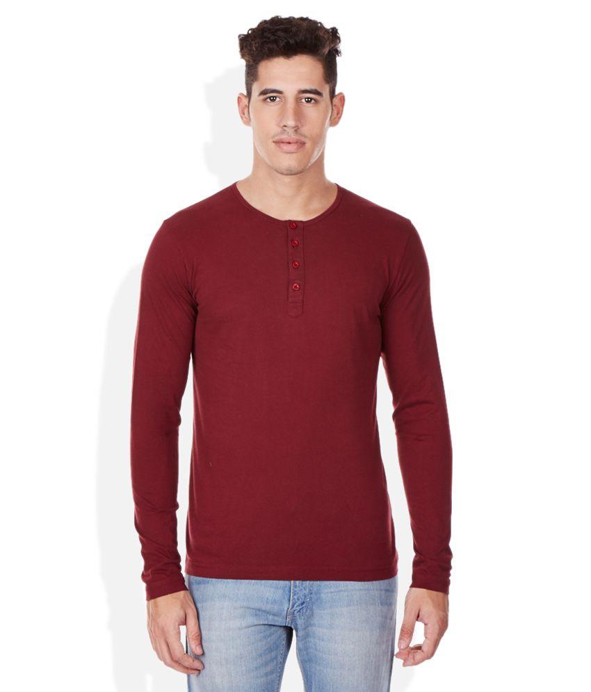 Bossini Maroon Henley T-Shirt