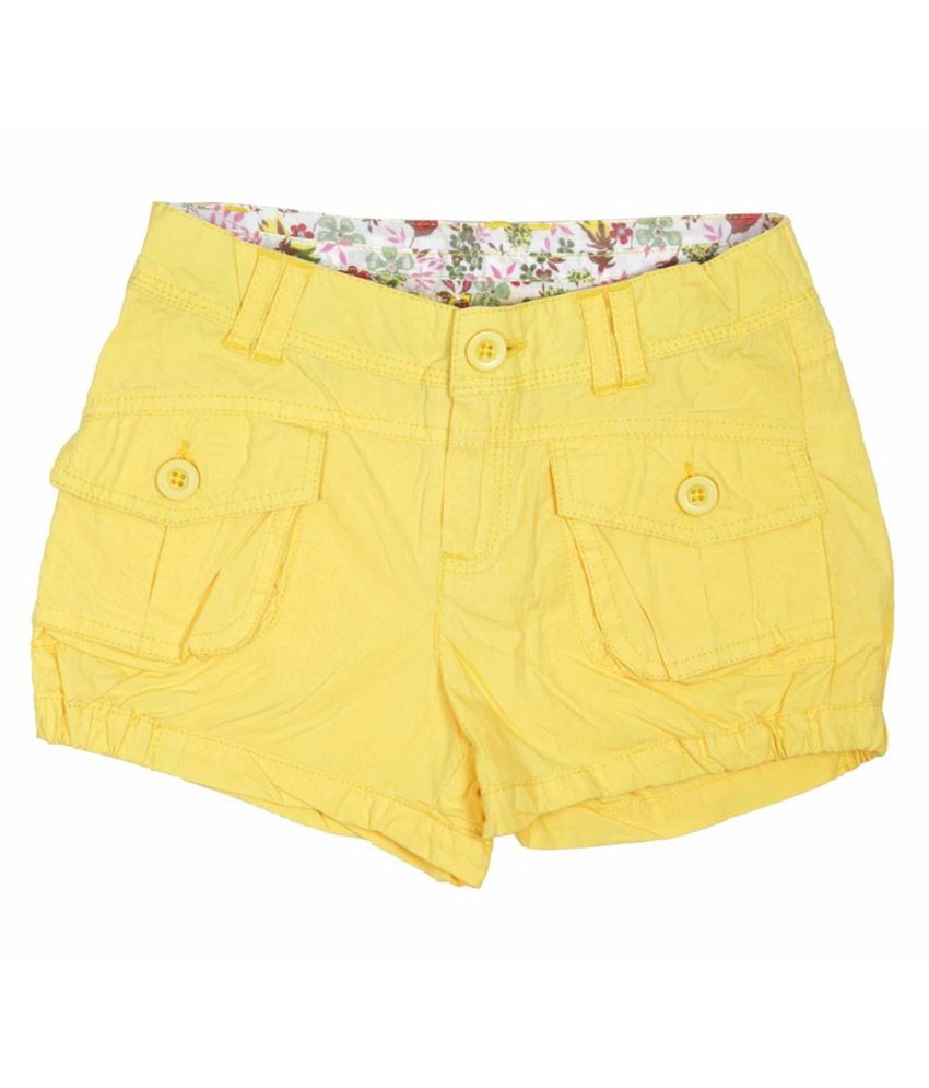 Little Flores Yellow Short For Girls