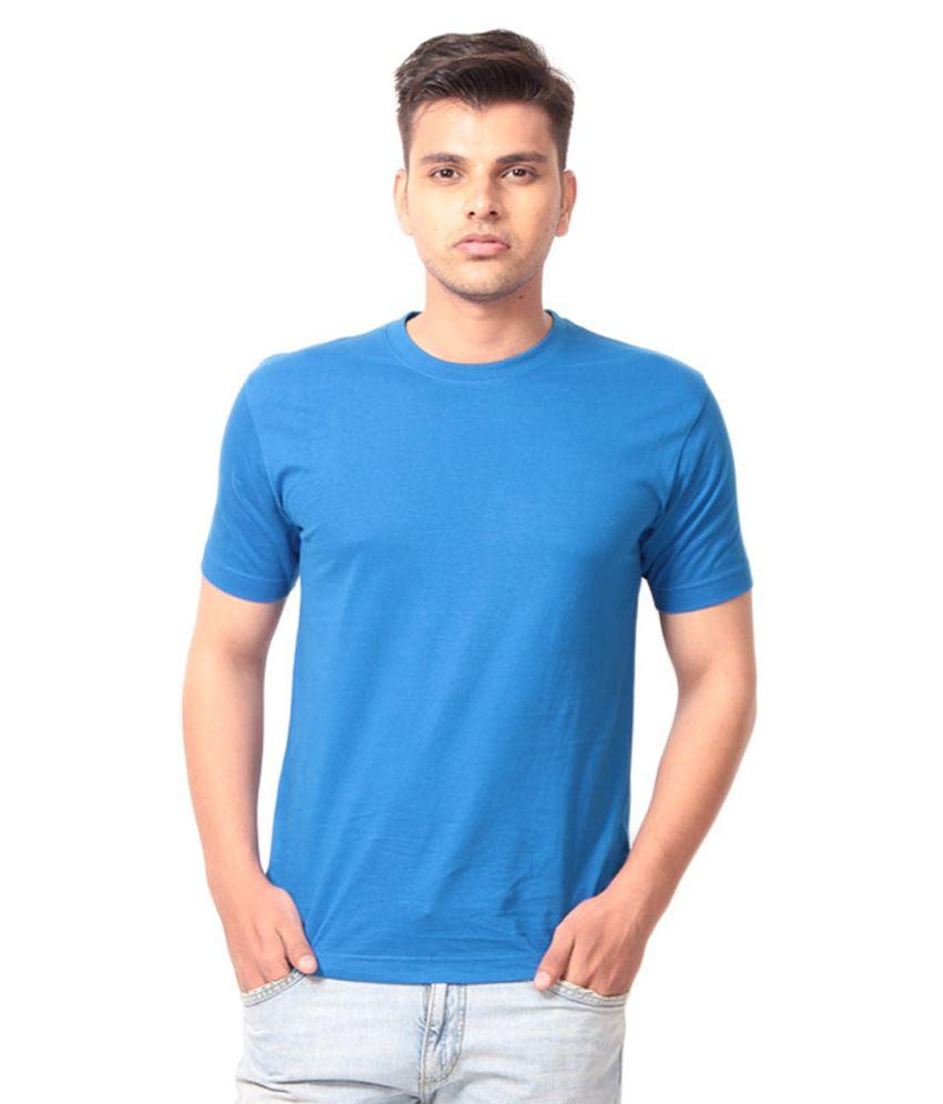 Mangla Fashions Blue Cotton Round Neck T-Shirt