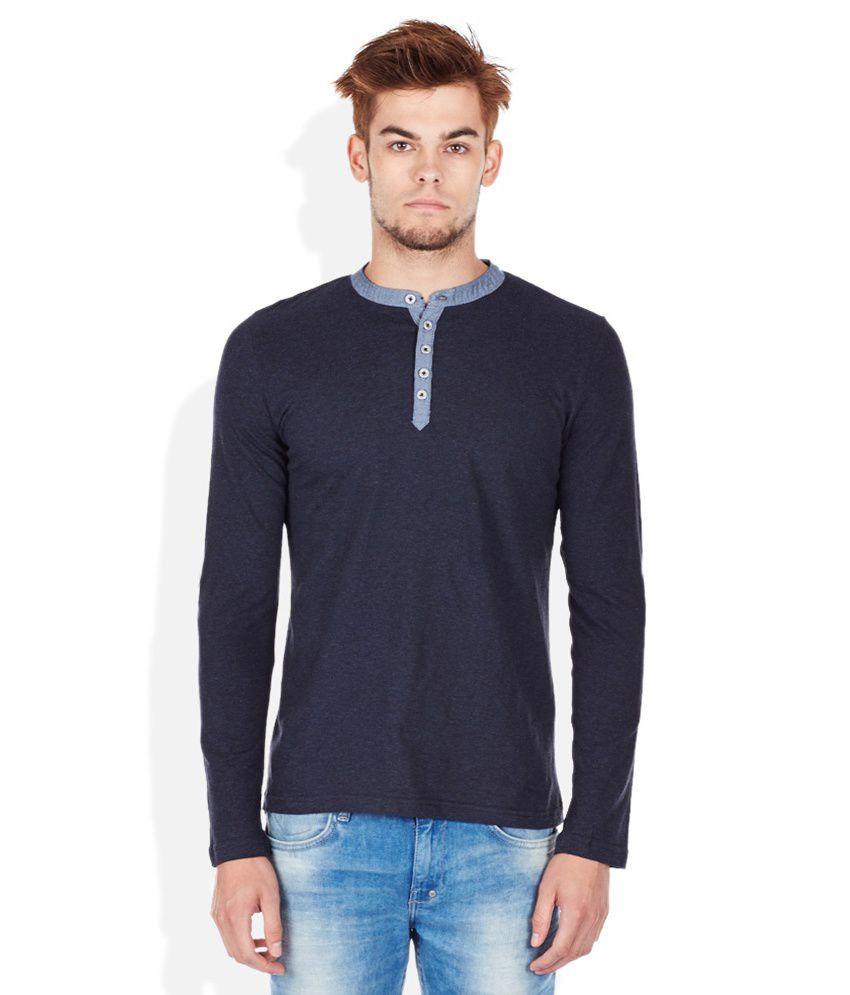 Celio Navy Henley Neck T Shirt