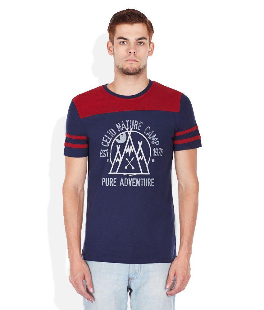 Celio Navy Blue Printed Round Neck T Shirt