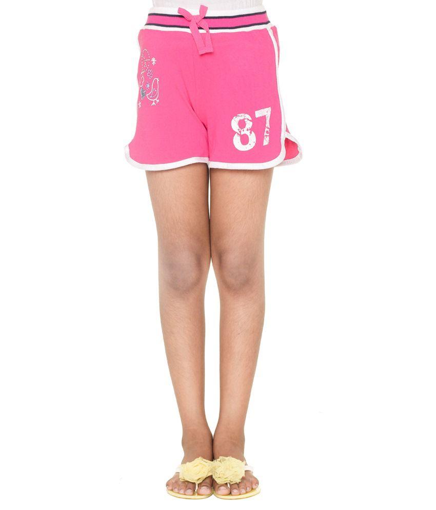 Menthol Pink & White Cotton Shorts