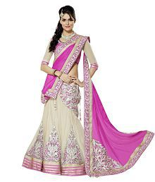 Saumya Designer Pink and White Faux Georgette Lehenga