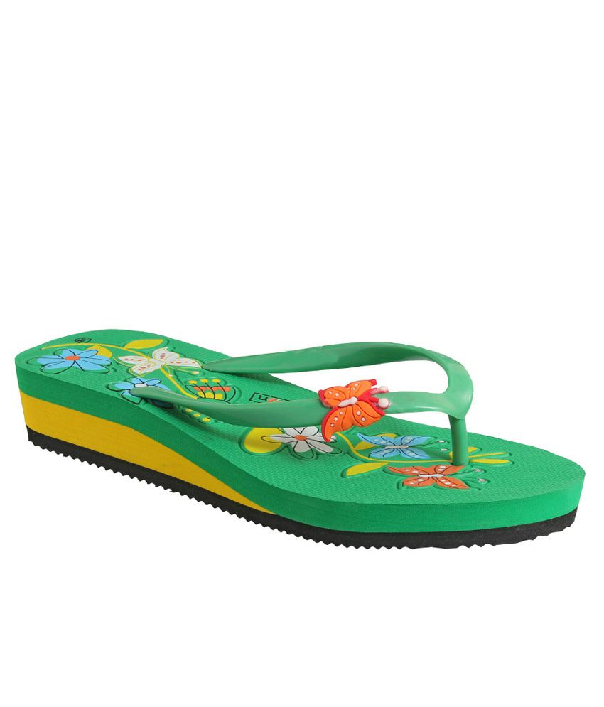 Action Shoes Green EVA Flat Flip Flops