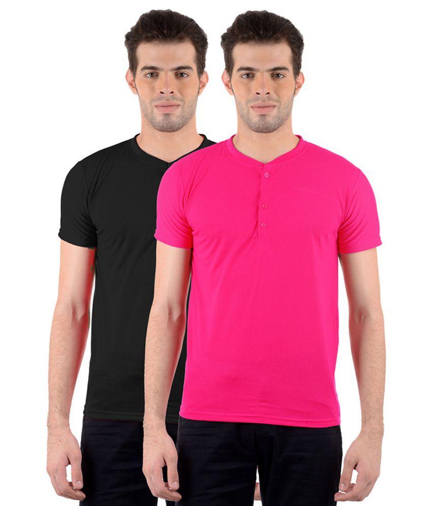GDivine Men's Henley Black & Pink T-Shirts (Pack of 2)