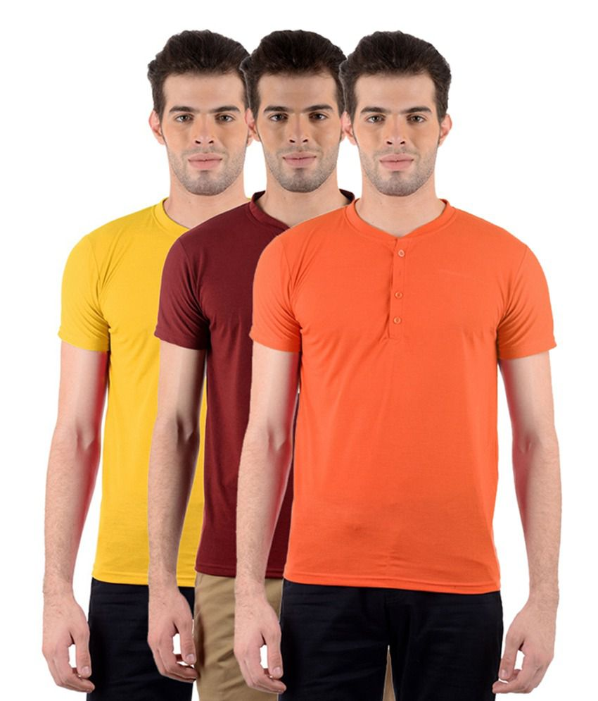 GDivine Men's Henley Orange, Yellow & Maroon T-Shirts (Pack of 3)