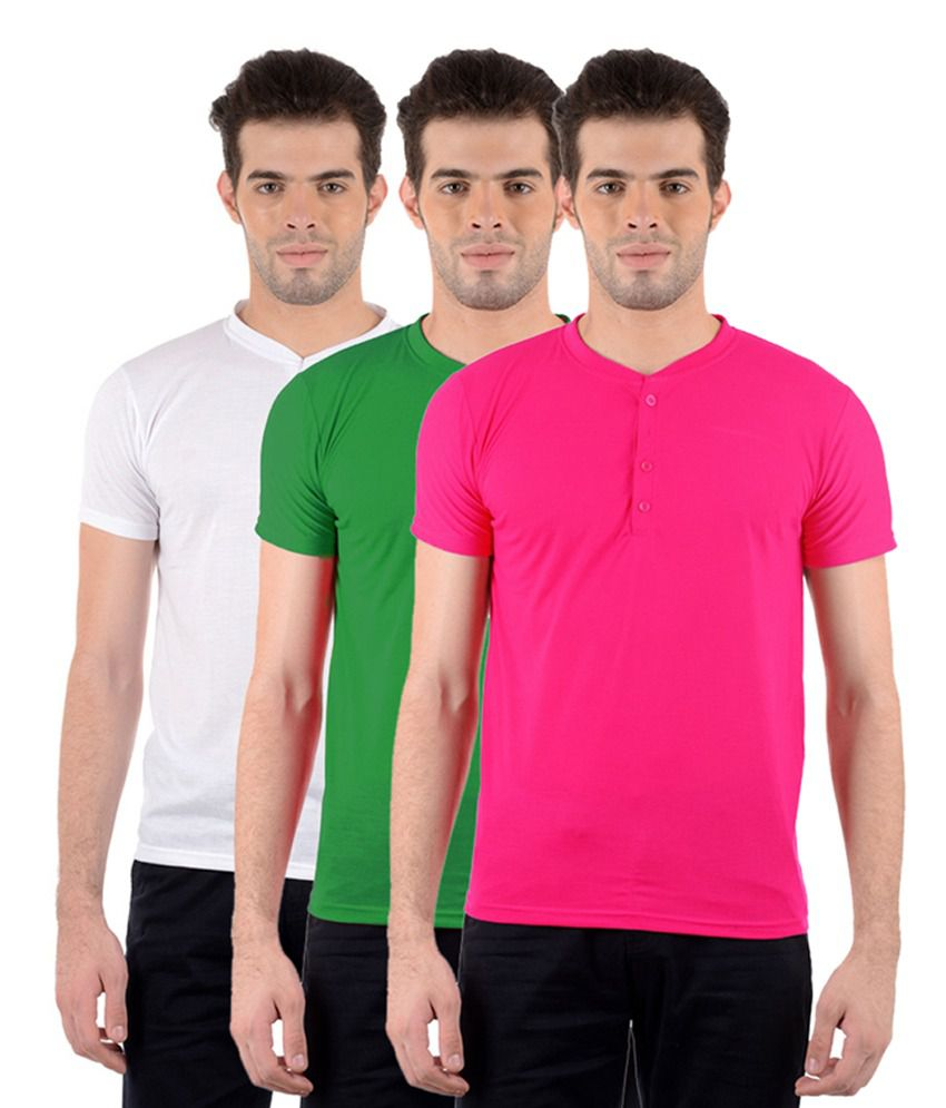 GDivine Men's Henley Pink, Green & White T-Shirts (Pack of 3)