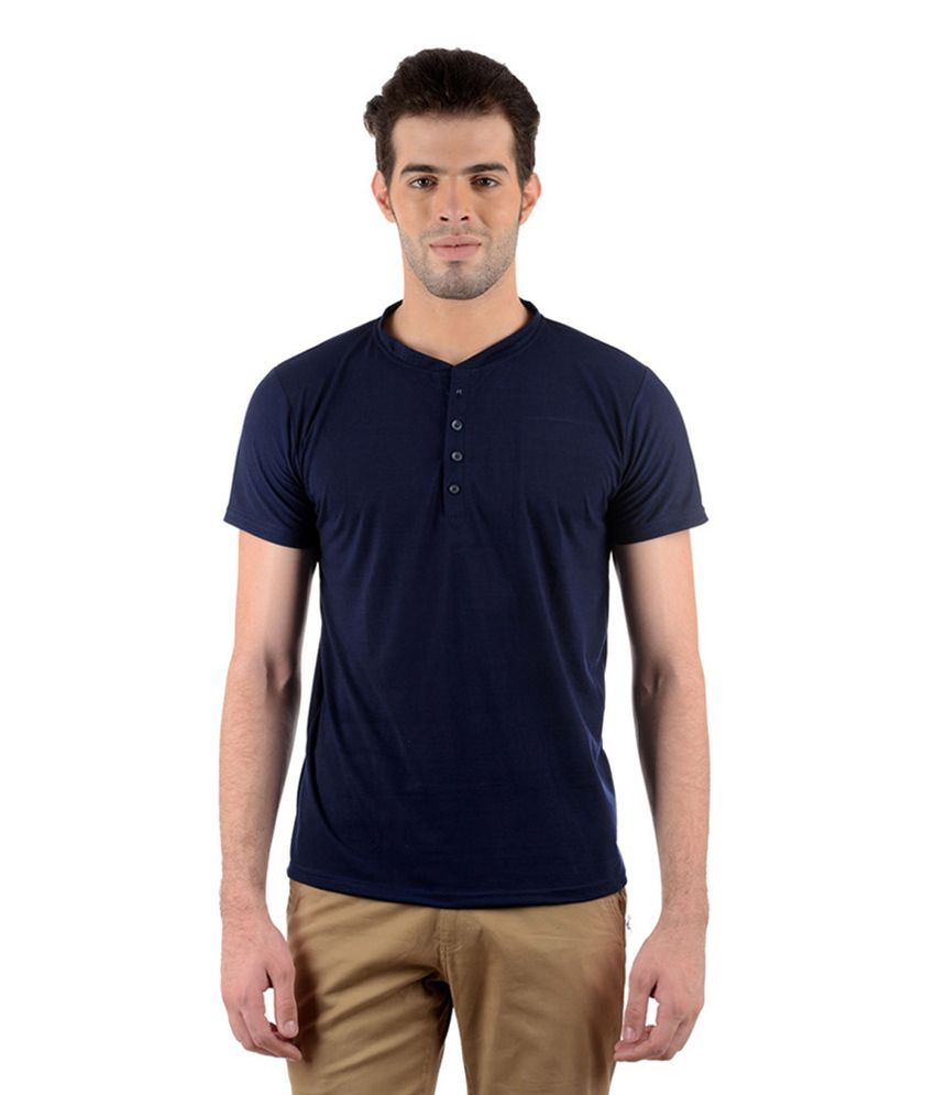 GDivine Men's Henley T-Shirt (Navy Blue)