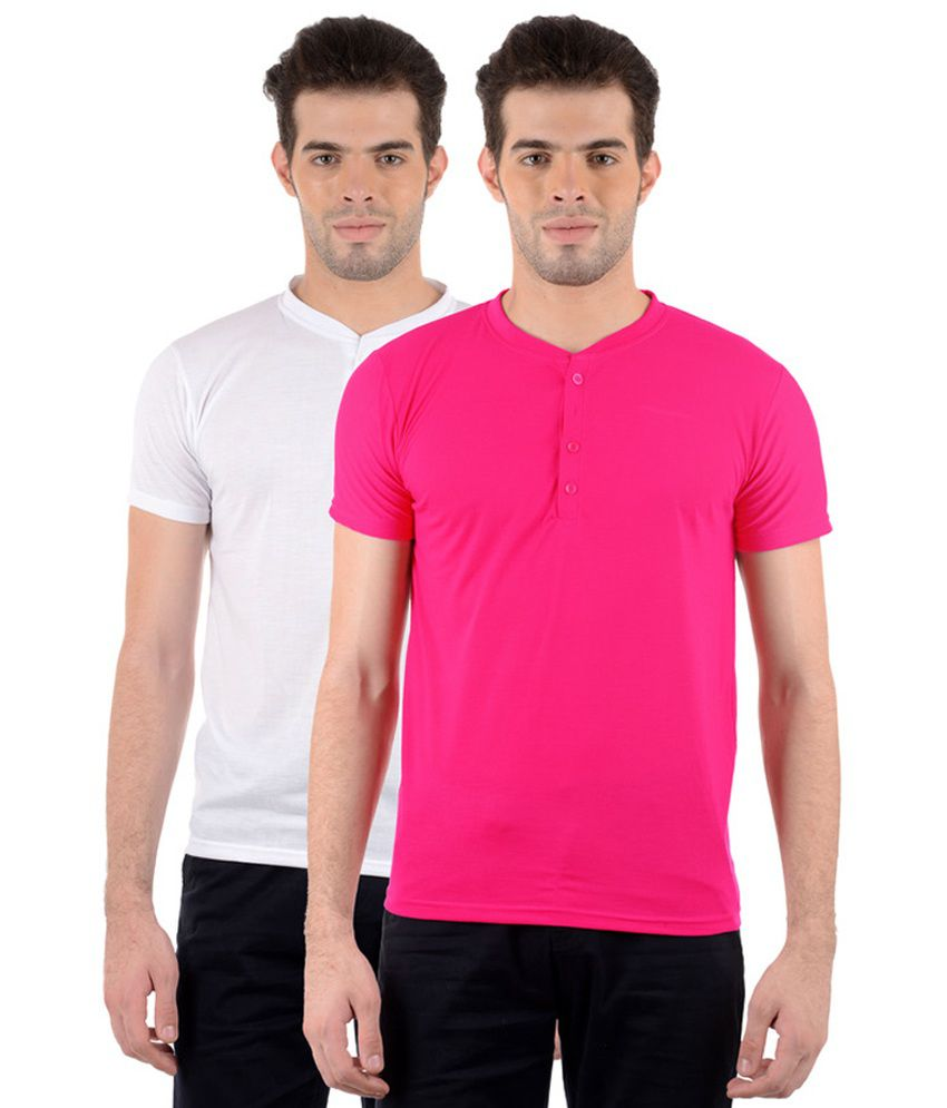 GDivine Men's Henley White & Pink T-Shirts (Pack of 2)