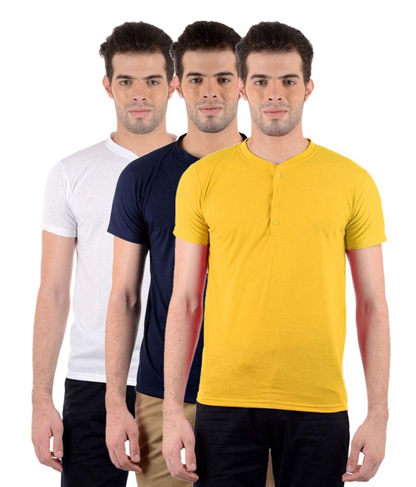 GDivine Men's Henley White, Yellow & Dark Blue T-Shirts (Pack of 3)