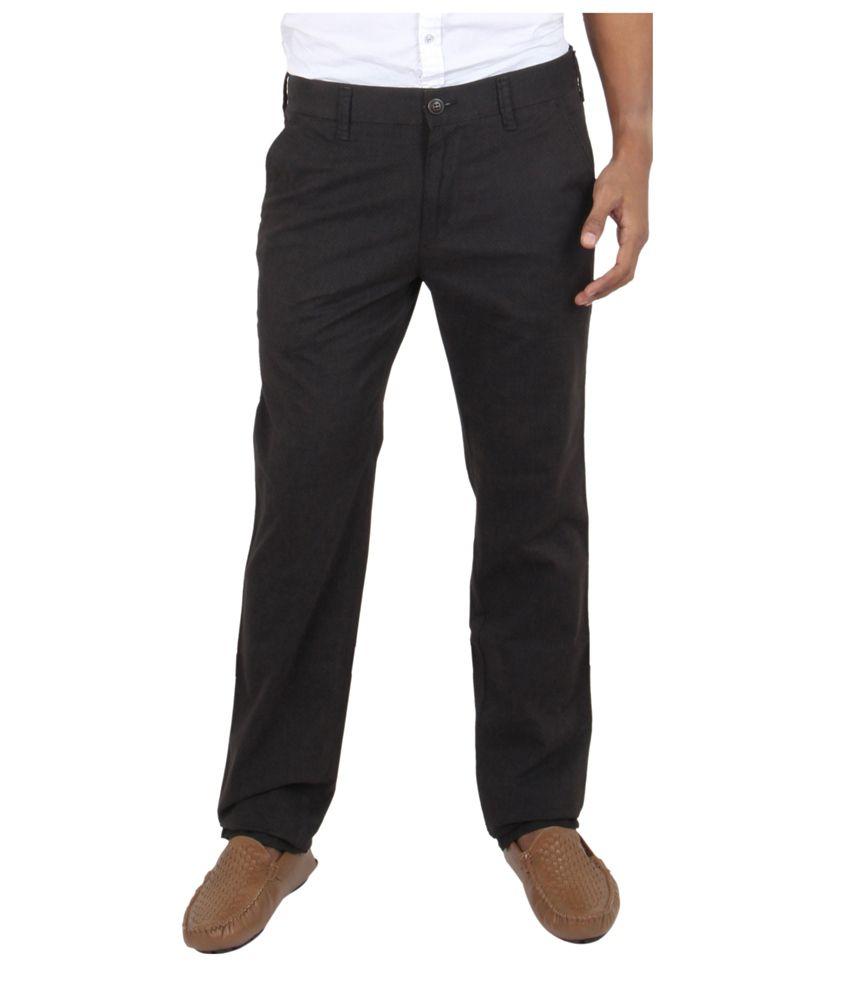 Killer Black Regular Fit Formal Flat Trouser