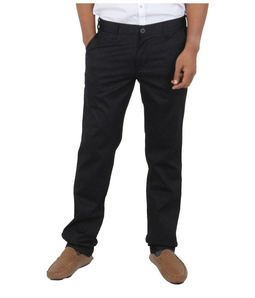 Killer Black Regular Fit Formal Flat Trouser