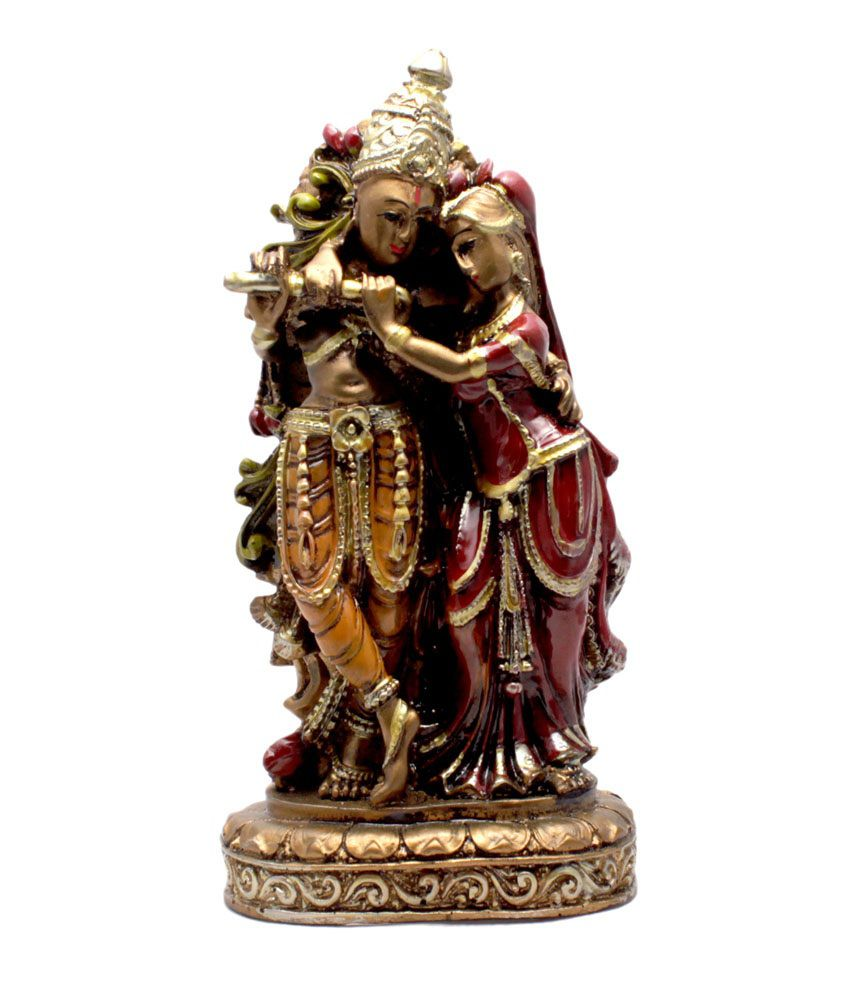 Krishna Mart Yellow Resin Krishna Radha Sculpture Statue