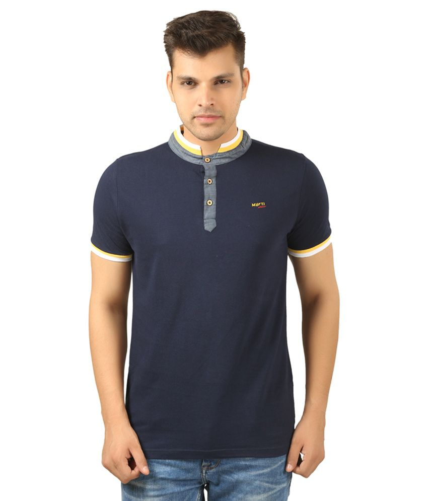 Mufti Henley Neck Navy Blue T-Shirt