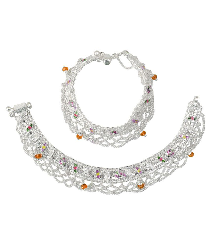 Taj Pearl Silver & Orange Brass Anklets