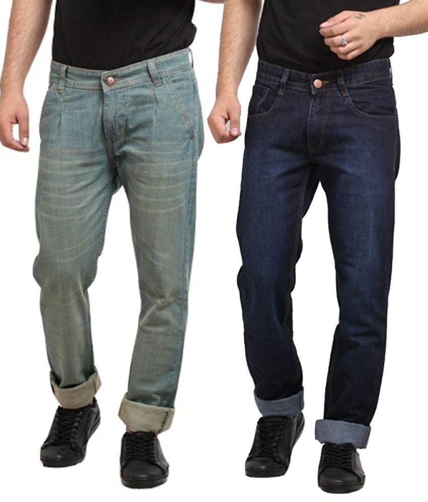 X-cross Multi Colour Cotton Blend Jeans - Pack Of 2