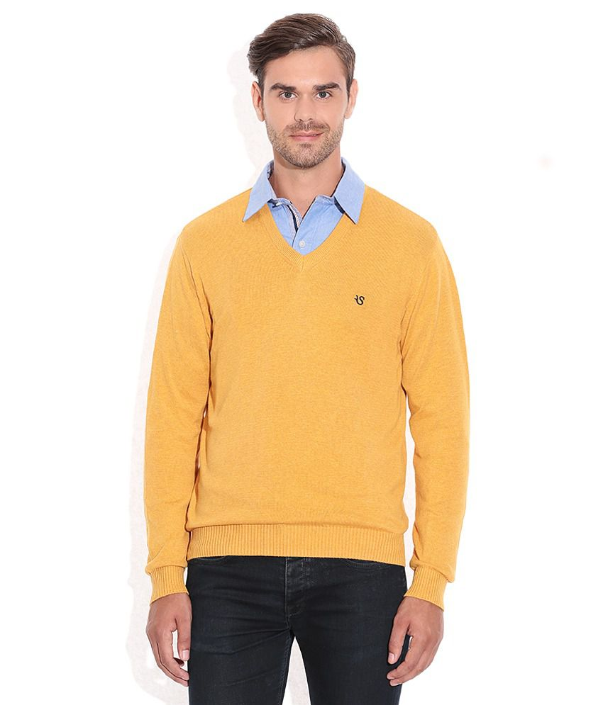 Yellow V Neck Sweater 56