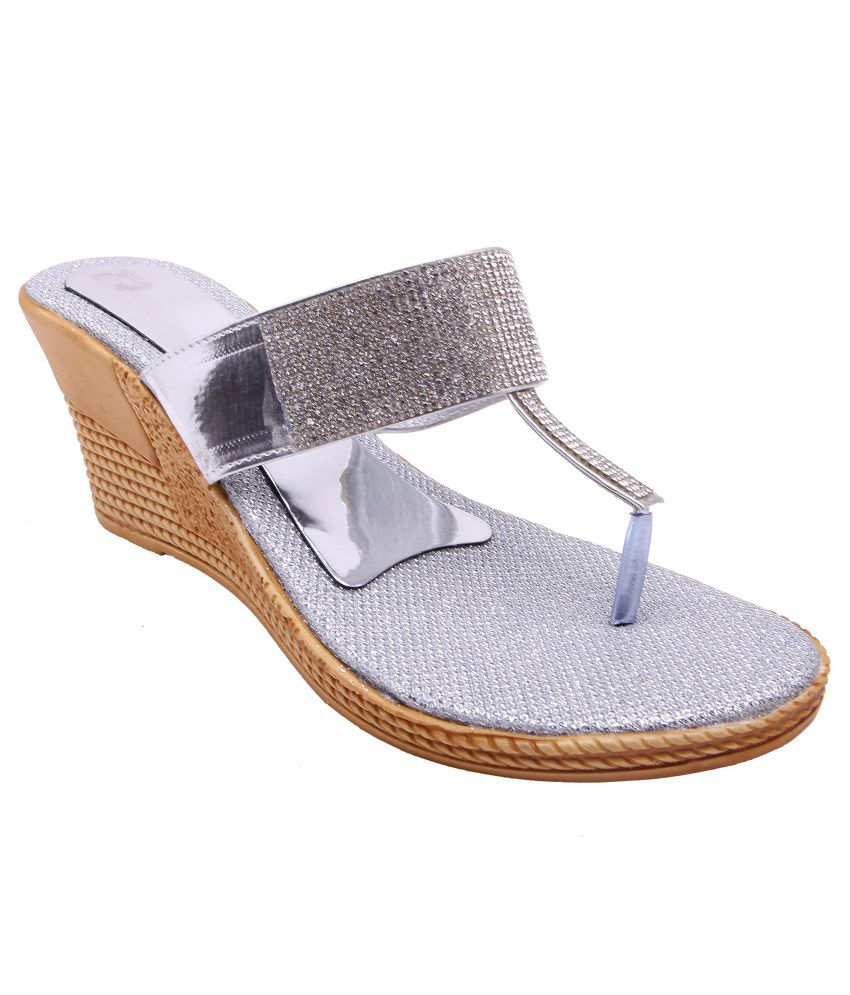 Royal Collection Silver Wedges Heeled Slip Ons