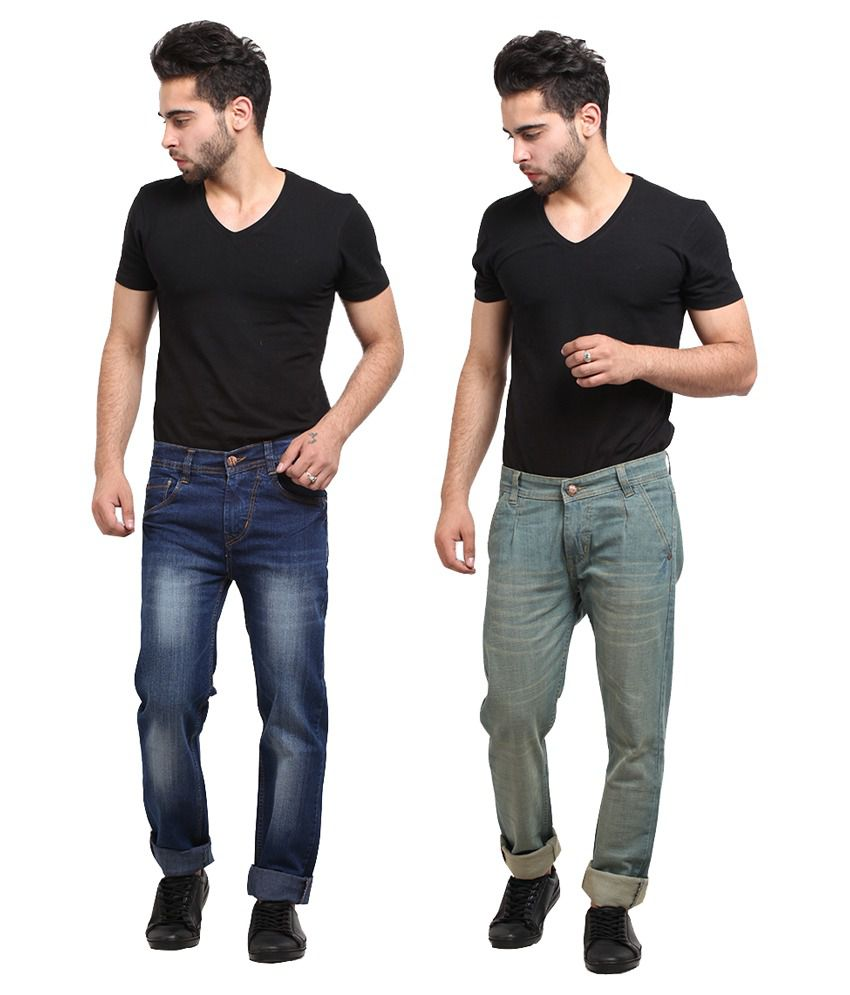X-cross Blue And Green Cotton Blend Jeans - Pack of 2