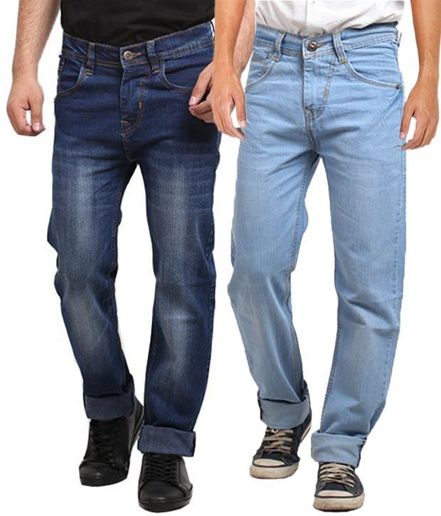 X-Cross Multicolour Regular Fit Jeans Combo Of 2