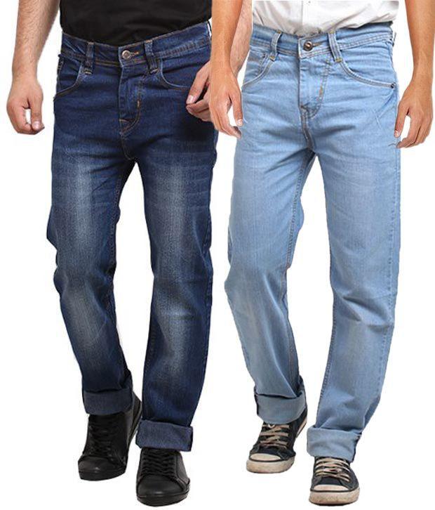 X-Cross Multicolour Regular Fit Jeans Combo Of 2