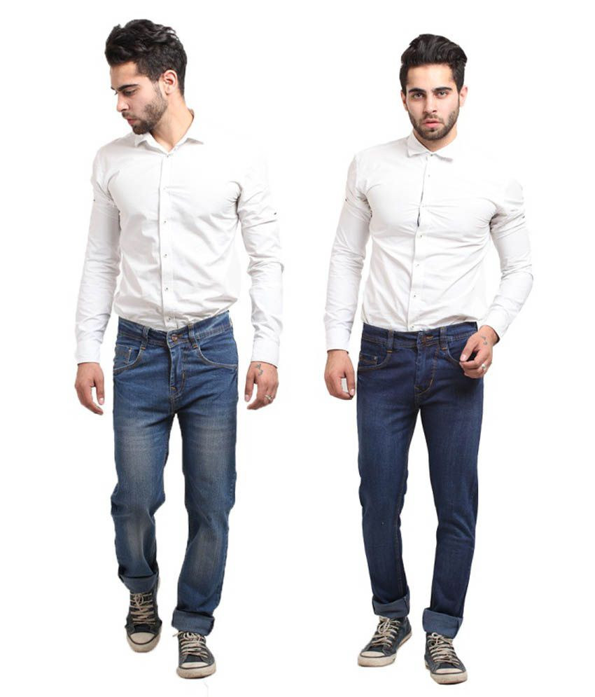 X-CROSS Multicolor Cotton Blend Regular Fit Jeans - Pack of 2