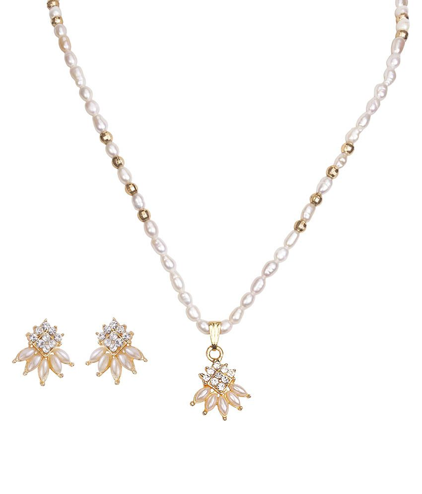 DDPearls 9k Yellow Gold Necklace Set
