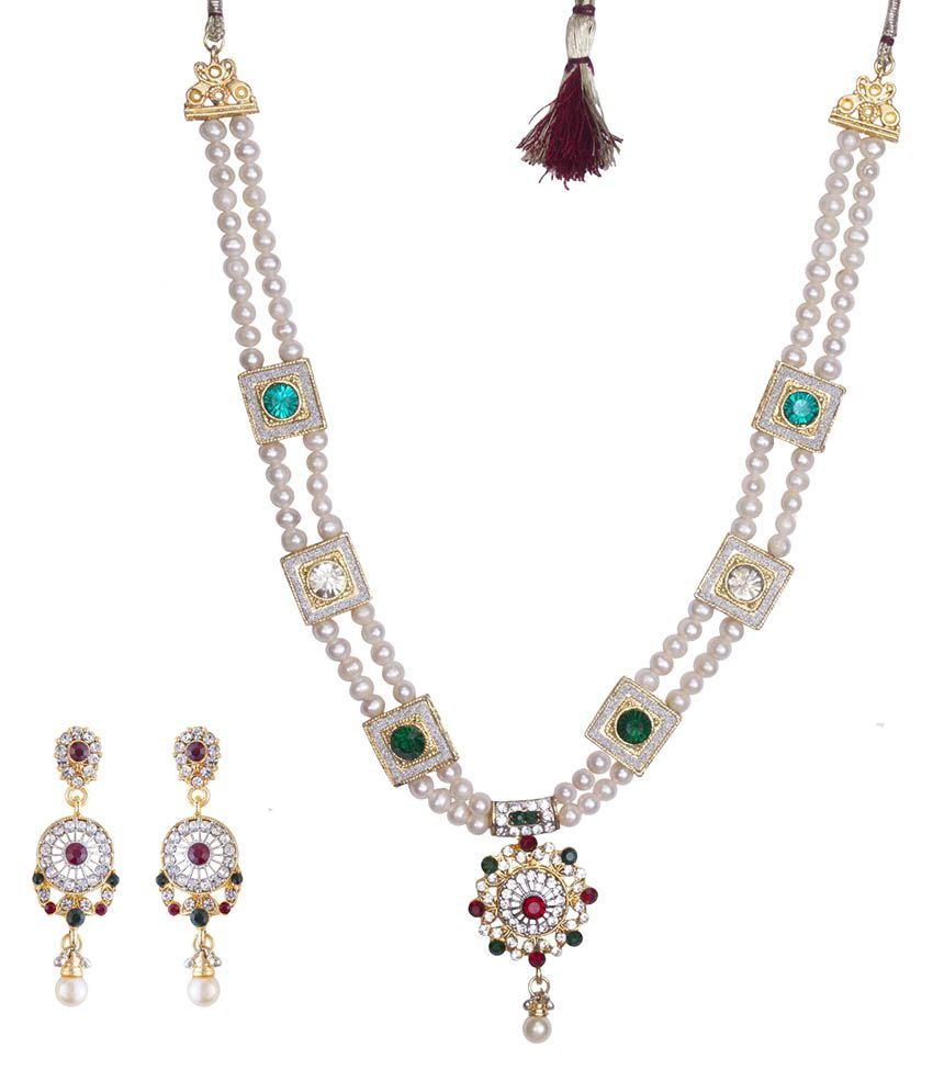 DD Pearls 9Kt Cubic Zirconia Pendant Necklace Set