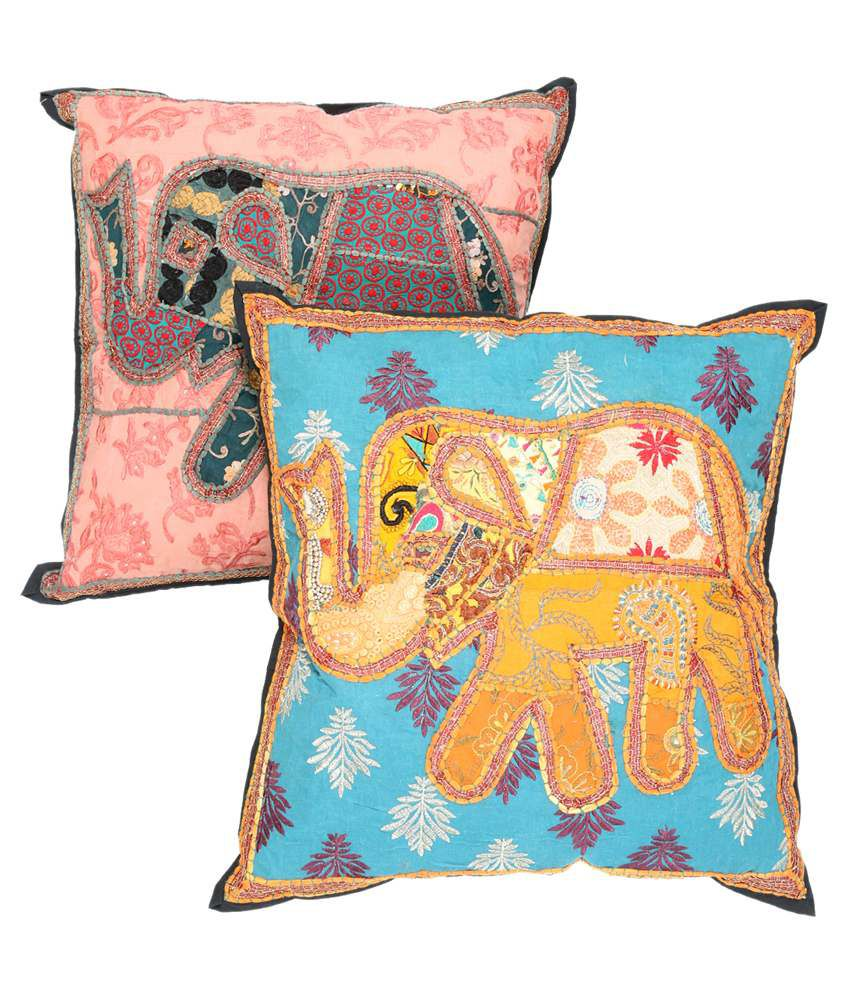 Rajrang Multicolour Cotton Cushion Covers Pack Of 2