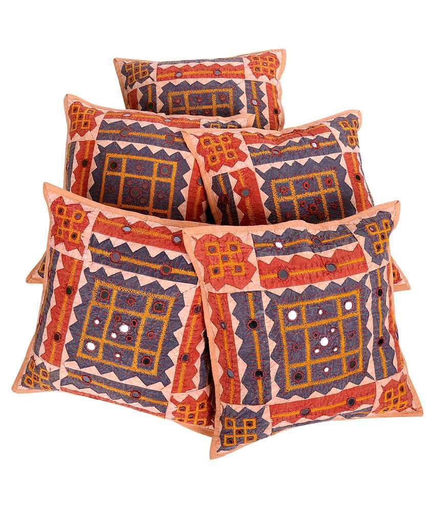 Rajrang Multicolour Cotton Cushion Covers Pack Of 5